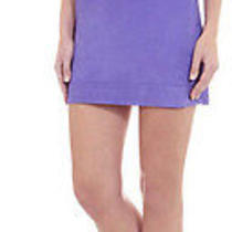 Victoria Beckham 1600 Purple Stencil Suede Leather Shift Cutout Mini Dress 2/s Photo
