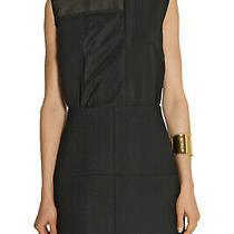 Victoria Beckham 2995 Black Paneled Organza Silk Wool Mini Dress Uk 10 Us 6 Photo