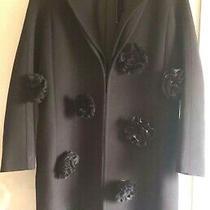 Victoria Beckham Black Silk Embellished Wool Coat Jacket Size Uk 6 New 995 Photo