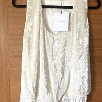 Victoria Beckham Crushed Vevet White Sleeveless Top Size Uk 8 New 755 Photo