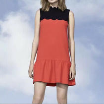 Victoria Beckham for Target Orange Black Drop Waist Scallop Trim Dress Size L Photo
