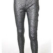 Victoria Beckham Silver Metallic Black Floral Lace Textured Tights Sz 27 Photo