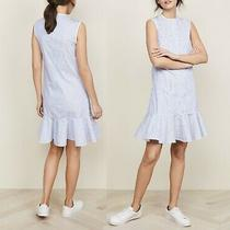 Victoria Beckham Striped Buttoned Ruffled Nautical Sailor Summer Dress Photo