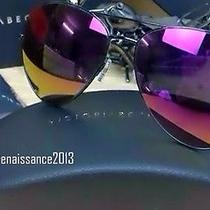 Victoria Beckham Sunglasses Aviator Purple Lenses Black Trim Brand New  Photo