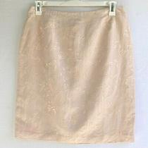 Victoria Holley Womens 14 Fits 10 Skirt Blush Pink Linen Blend Floral Embroidery Photo