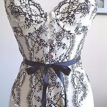Victoria's Secret 98 Swarovski Black &white Lace Up Hook Corset Bustier 34b Nwt Photo