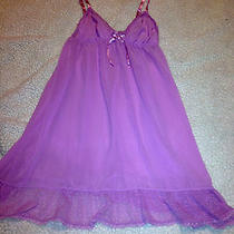 Victoria's Secret Angels Pink/purple Sheer Lace Ruffle Chemise Nightie M  Euc Photo
