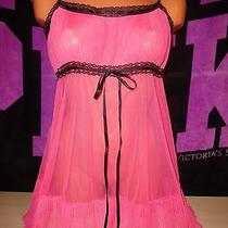Victoria's Secret Babydoll Lingerie Nighty  Size M  Pink With Black Ribbon Photo