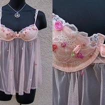 Victoria's Secret Babydoll Nightie 34c Blush Spring Beaded Lingerie Sheer Photo