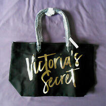 Victoria's Secret Black Canvas Tote Shopping Bag Gold Writing New With Tag Photo