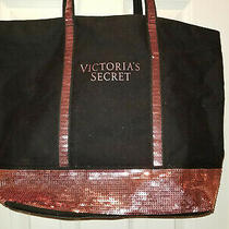 Victorias Secret Black Pink Sequin Bag Large Tote Zipper Weekender Duffel Purse Photo