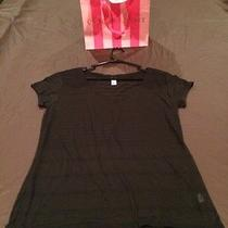Victoria's Secret Black Striped See Through Tee Size M New Photo