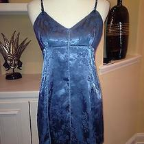 Victoria's Secret Chemise Nightgown Blue Damask Floral Print Medium Photo