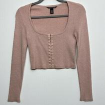 Victorias Secret Cropped Blush Pink Womens Sweater Blouse Hook Eye Det S Photo