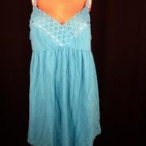 Victorias Secret Eyelet-Trim Nightie Aqua Size L Photo