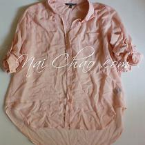 Victoria's Secret Light Pink Chiffon Sheer Button Down Dress Shirt Top Blouse M Photo