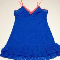 Victoria's Secret Lingerie Nightie Blue Stretch Lace Babydoll Ruffles Sexy Sz M Photo