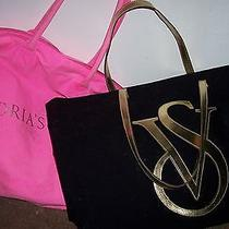 Victoria's Secret Lot of 2 Tote Bags - Hot Pink and Black With Gold Photo