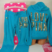 Victoria's Secret M Set Pink Fashion Show Limited Edition Sequin Bling Hoodie Photo