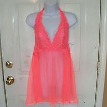 Victoria's Secret Melon Lace Sheer Halter Teddy W/thong Lingerie Size L New Photo
