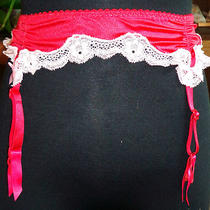 Victoria's Secret One Size Red Garter Belt Pink Lace Trim Fits 24-32 Waists Photo