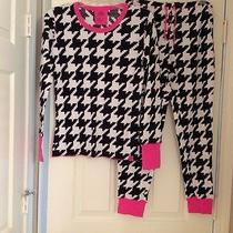 Victoria's Secret Pajama Set Black and White Houndstooth W/pink Trimsize Meuc Photo