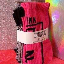 Victoria's Secret Pink 2-Pair Knee High Socks - Pink & Gray New Photo
