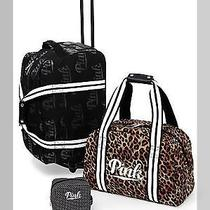 Victoria's Secret Pink 3pc Carry-on Travel Set Luggage Wheelie Duffel Bag Makeup Photo