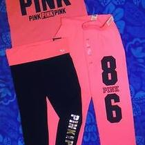 Victoria's Secret Pink 3pc Varsity Campus Sweat Bling Yoga Legging & Tee Nwt L Photo