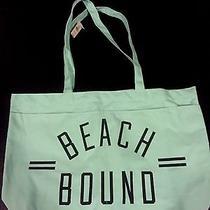 Victoria's Secret Pink Beach Canvas Tote Travel Blue Bag
