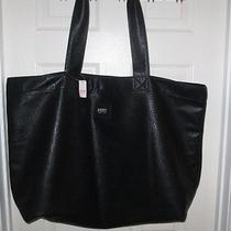 Victoria's Secret Pink Collection Faux Leather Oversized Tote Bag Nwt Black Photo