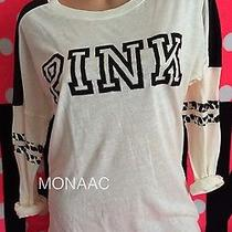Victoria's Secret Pink Cream Leopard Crew Varsity Tee Shirt Pullover Xsmall Xs Photo