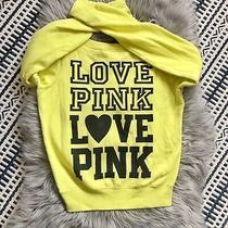 Victoria's Secret Pink Crewneck Sweater Sweatshirt Love Pink Women's Yellow Sz S Photo
