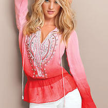 Victoria's Secret Pink Embellished Ombre' Georgette Tunic Blouse Szx-Small Photo
