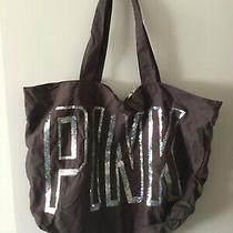 Victorias Secret Pink Grey and Silver Sequins Tote New Photo