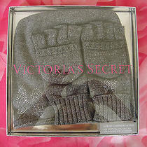 Victoria's Secret Pink Hat & Glove Cashmere Blend Gift Set Box Bling Gray Wing Photo