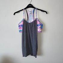 Victorias Secret Pink Large Grey Cotton 2in1 Multi Coloured Bra & Gym Vest Top Photo