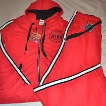 Victoria's Secret Pink Limited Edition Red Zip Up Hoodie & Sweatpants Outfit S Photo