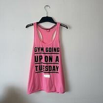 Victorias Secret Pink Medium Gym Going Up on a Tuesday Vest Tank Top. Active Photo
