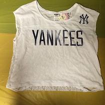 Victoria's Secret Pink Mlb New York Yankees Lace Back Half Top T-Shirt Small Photo