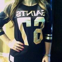 Victoria's Secret Pink Nfl New Orleans Saints Black & Gold Jerseytee Xs Nwt Photo