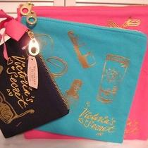 Victoria's Secret Pink Nwt Travel Beach Cosmetic 3pc. Bags Set Black/blue/pink Photo