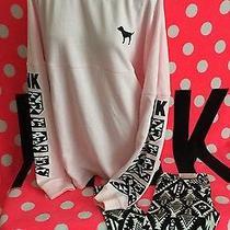Victoria's Secret Pink Pink White Aztec Varsity Crew Pullover Legging Large Nwt Photo