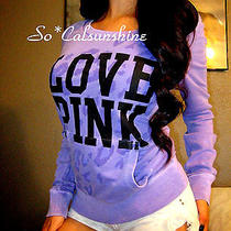 Victoria's Secret Pink Rare Cheetah Purple Crew Sweatshirt Pullover Sweater Xs M Photo