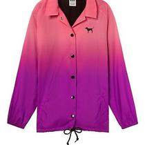 Victoria's Secret Pink Snap Front Coaches Jacket Pink Purple Dip Dye Xs Nwt  Photo