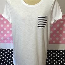 Victoria's Secret Pink Stripe Pocket T Shirt Size Medium New V18 Photo