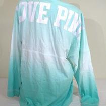 Victoria's Secret Pink Sz L Varsity Crew Oversize Tunic Pullover Green Ombre Photo