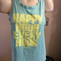 Victoria's Secret Pink Tank Blue Happy Hour Every Hour Womens Size Small S Photo
