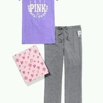 Victorias Secret Pink v-Neck & Boyfriend Sweatpant Gift Box Purple Set Medium Photo