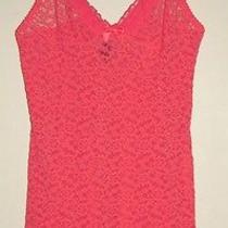 Victoria's Secret Red Lace Nightie Slip Lingerie Adj. Satin Strap Sz M. 8 Nwot Photo